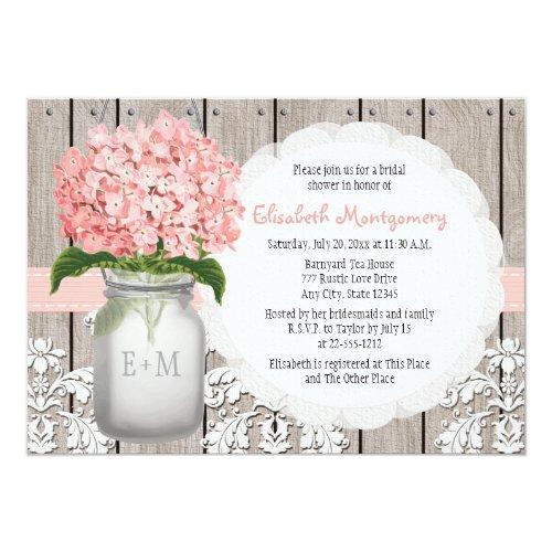 Pink Hydrangea Monogrammed Mason Jar Bridal Shower Invitations