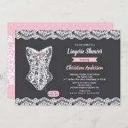 Pink Lingerie Shower Invitation Chalkboard Lace