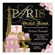Pink Paris Bridal Shower Invitations