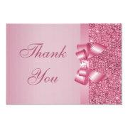 Pink Printed Sequins Bow & Diamond Thank You Personalized Invites