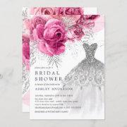 Pink & Silver Floral Wedding Dress Bridal Shower Invitation