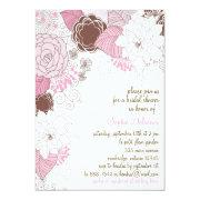 Pink Spring Flowers Bridal Shower Invitation