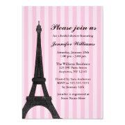 Pink Stripe Paris Bridal Shower Invitations