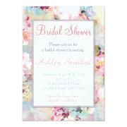 Pink Teal Watercolor Chic Floral Bridal Shower