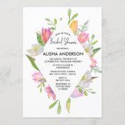 Pink Tulip Watercolor Floral Bridal Shower Invitation