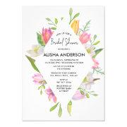 Pink Tulip Watercolor Floral Bridal Shower Invitation