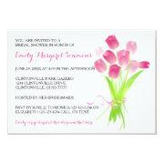 Pink Tulips - 3x5 Bridal Shower Invitations