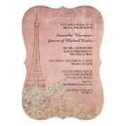 Pink Vintage Paris Parisian Stylish Bridal Shower Invitation