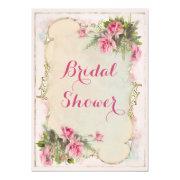Pink Vintage Roses Shabby Chic Bridal Shower Invitations