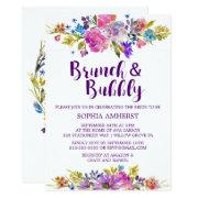 Plum Purple Brunch And Bubbly Bridal Shower Invite