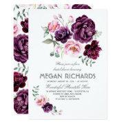 Plum Purple Floral Watercolor Boho Bridal Shower Invitation