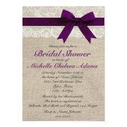 Plum Purple Lace Burlap Bridal Shower Invitation