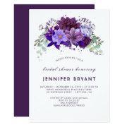 Plum Violet Purple Floral Elegant Bridal Shower