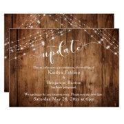 Postponed Wedding Update, Rustic Wood & Lights Invitation