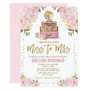 Pretty Pink Gold Travel Adventure Bridal Shower Invitation