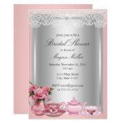 pretty pink high tea bridal shower invitations