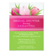 Pretty Pink Tulips Spring Bridal Shower Invitation