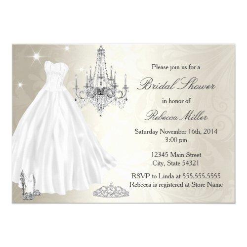 Pretty Wedding Dress Bridal Shower Cream White Invitations