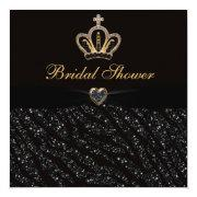 Princess Crown Heart & Zebra Glitter Bridal Shower Invitation