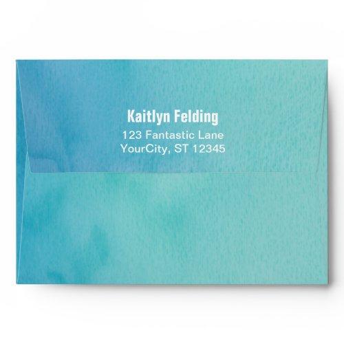 Printed Bride Return Address Teal/blue Watercolor Envelope