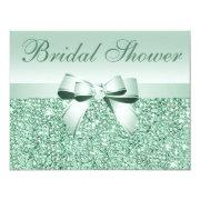 Printed Green Sequins, Bow & Diamond Bridal Shower
