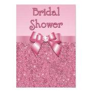 Printed Pink Sequins And Bow Bridal Shower
