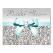 Printed Silver Sequin Teal Bow Image Bridal Shower Invitation