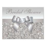 Printed Silver Sequins Bow & Diamond Bridal Shower