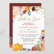Pumpkin Fall In Love Botanical Floral Gold Wedding Invitation