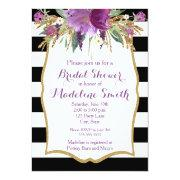 Purple And Gold Watercolor Flowers Bridal Shower Invitation