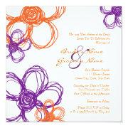 Purple and Orange Wild Flowers Wedding Invitation