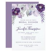 Purple And Silver Watercolor Floral Bridal Shower