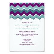 Purple and Teal Zig Zag Wedding Invitations