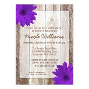 Purple Daisy Rustic Barn Wood Bridal Shower Invitation