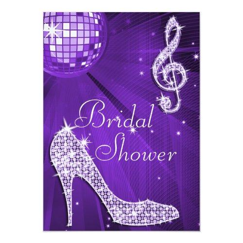 Purple Disco Ball And Sparkle Heels Bridal Shower Invitations