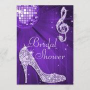 Purple Disco Ball And Sparkle Heels Bridal Shower Invitation