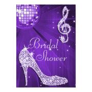 Purple Disco Ball And Sparkle Heels Bridal Shower Invitation