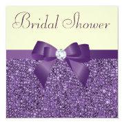Purple Faux Sequins Bow Diamond Bridal Shower