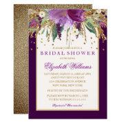 Purple Floral Amethyst Bridal Shower Invitations