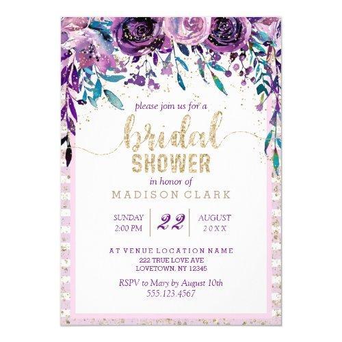 Purple Floral Champagne Bridal Shower Invitation