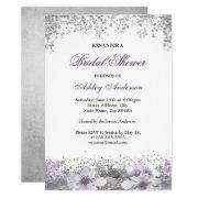 Purple Floral Glitter Bridal Shower
