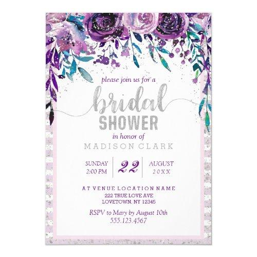 Purple Floral & Silver Bridal Shower Invitations