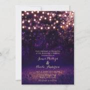 Purple Forest Sunset String Lights Rustic Wedding Invitation