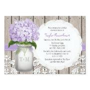 Purple Hydrangea Monogram Mason Jar Bridal Shower
