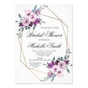 Purple Lavender Floral Geometric Bridal Shower Invitation