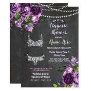Purple Lingerie Shower Bow Panties Bra Floral