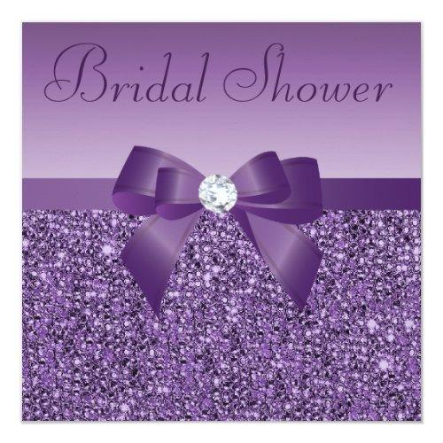 Purple Printed Sequins Bow & Diamond Bridal Shower
