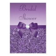 Purple Printed Sequins Bow & Diamond Bridal Shower