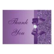 Purple Printed Sequins Bow & Diamond Thank You Invitations