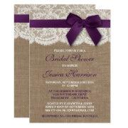 Purple Ribbon On Burlap & Lace Bridal Shower